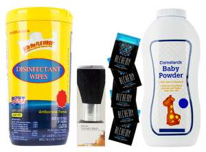 STARTER KIT: Disinfectant Wipes; Make-Up Brush, (5) Alchemy Lubricant Foil Packs,  4oz. Baby Powder
